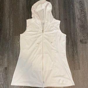 Dotti White Sleeveless Coverup Hooded